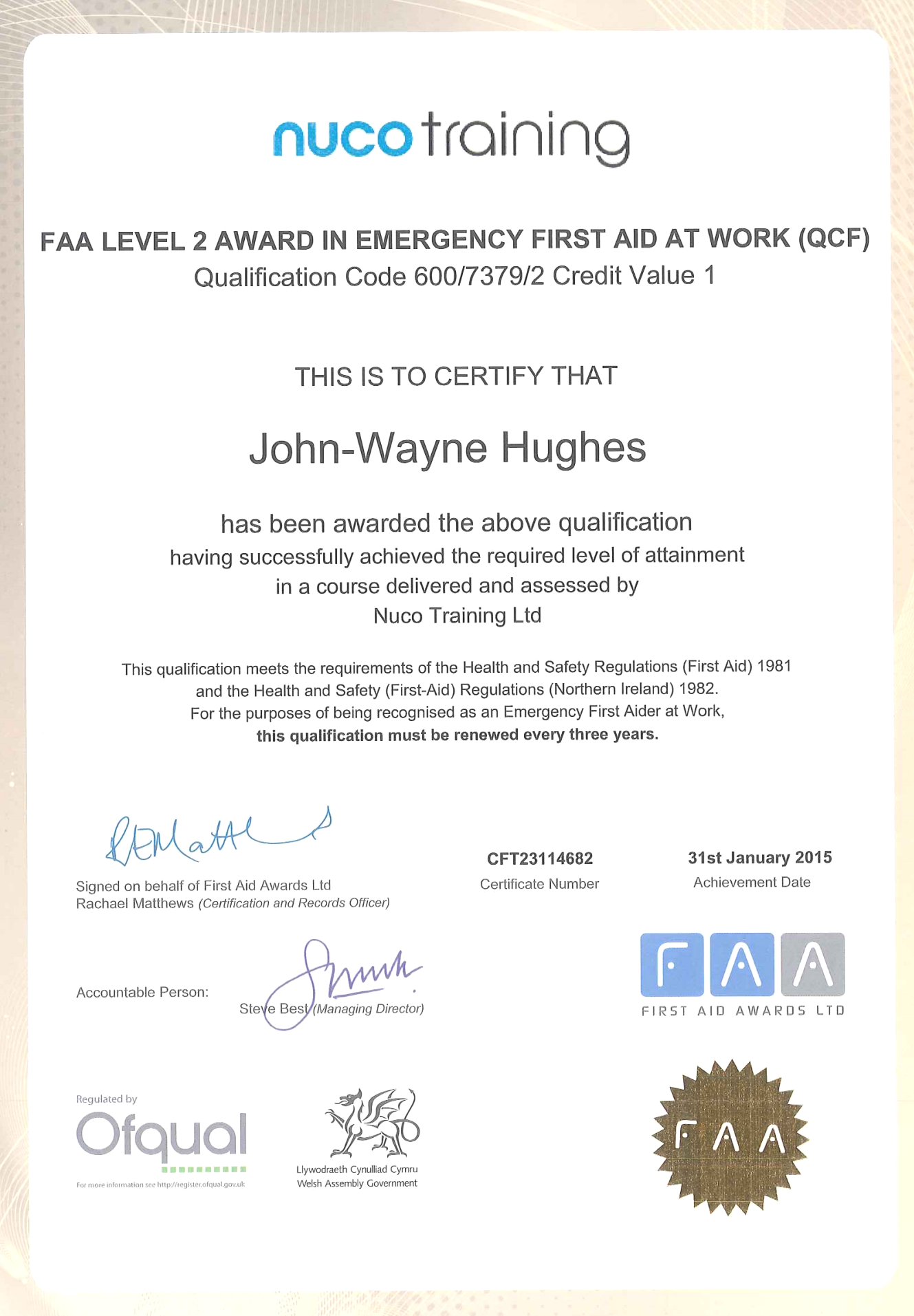 Emergency First Aid At Work FAA Level 2 Award Certification