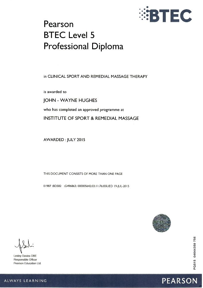 Clinical Sport and Remedial Massage Therapy BTEC Level 5 Professional Diploma Certification