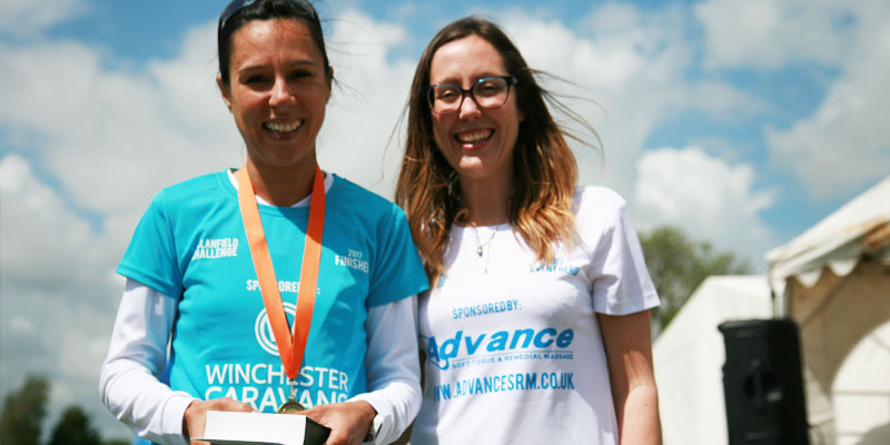 Two-Ladies-Wearing-Clanfield-Challenge-Sponsored-Tshirts