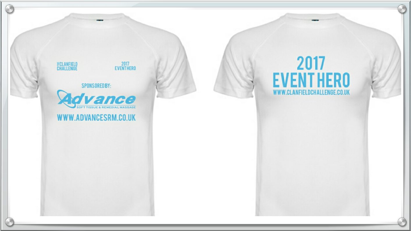 Image of Clanfield Cahllenge Volunteer t shirt with sponsor AdvanceSRM on front and 2017 Event Hero on Back