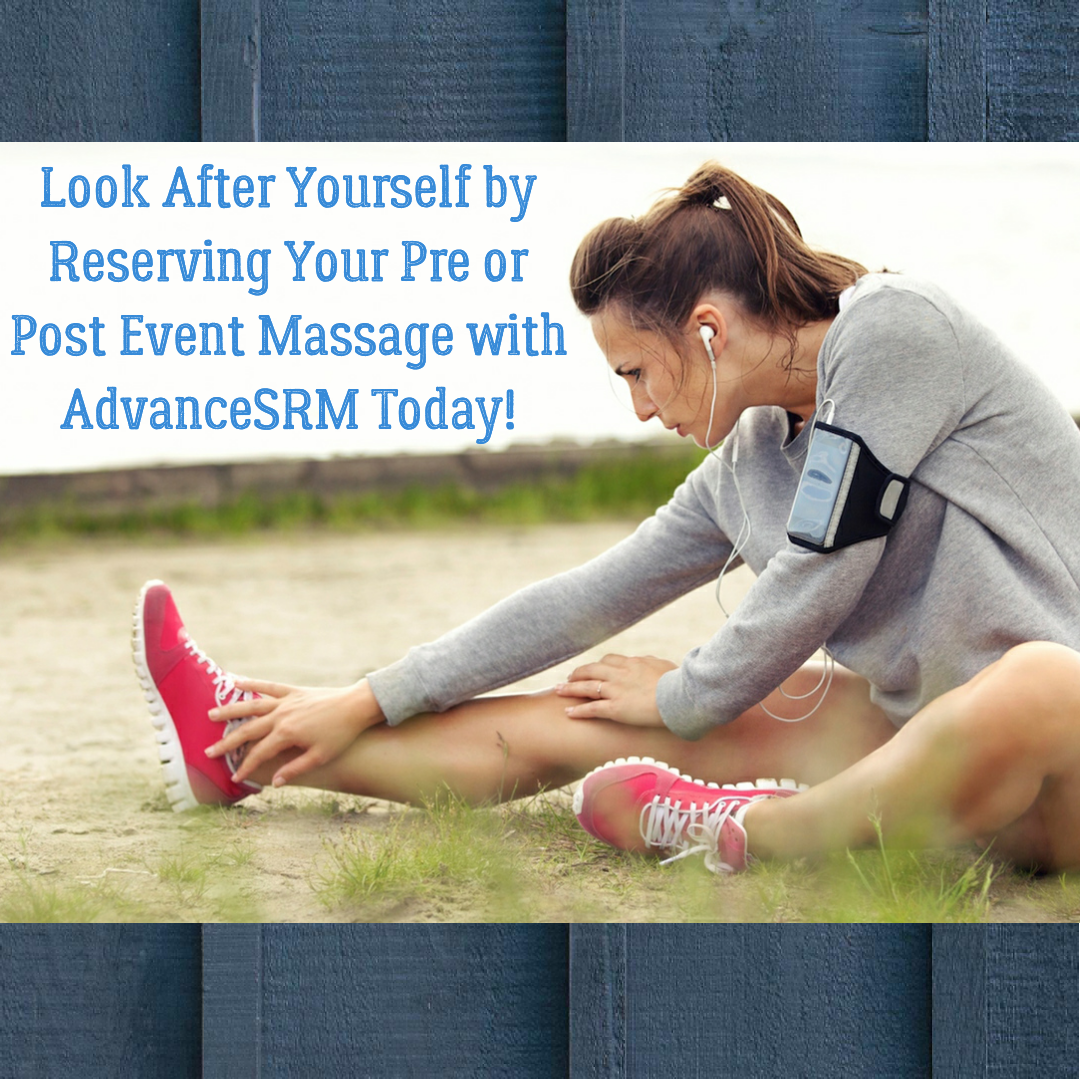 Digital image of the woman stretching with book your event massage today